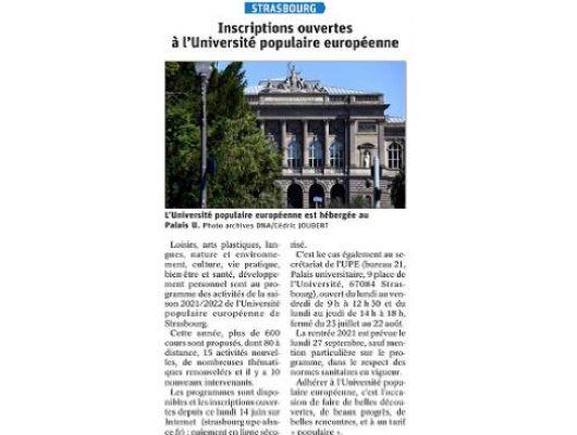 Les inscriptions ouvertes à l'Université populaire européenne