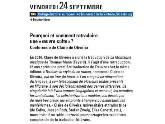 Conférence de Claire Oliveira
